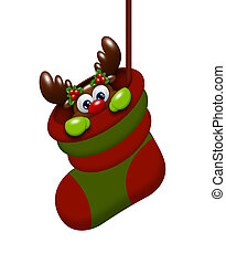 cartoon reindeer in christmas sock isolated over white...