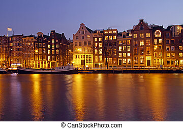 Amsterdam by night in the Netherlands