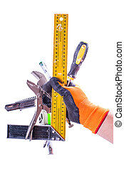 set of working tools in hand