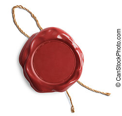 Red blank wax seal or stamp - Red wax seal with rope...