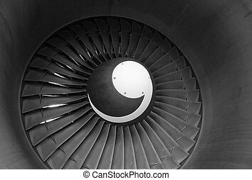 Jet Engine - View into a the jet engine of a commercial...