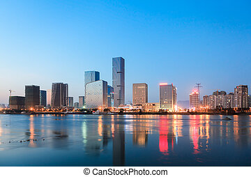 Chinese City CBD at dusk - Chinese City CBD at...