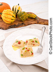 Ravioli with spicy butternut pumpkin filling