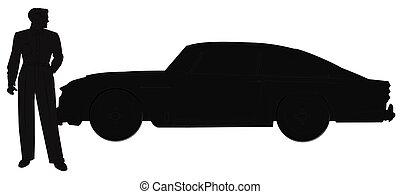 man with his car in silhouette - man standing in front of...