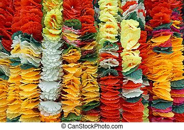 Background of flower garlands in thai style Thailand