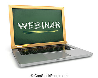 Webinar concept. Laptop with chalkboard and chalk. 3d
