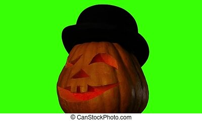 Hellowen pumpkin on green screen