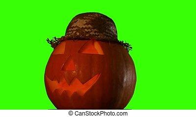 Hellowen pumpkin on green screen - Hellowen pumpkin group...