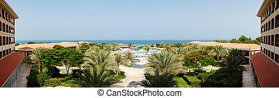 The panorama of beach at luxury hotel, Fujairah, UAE