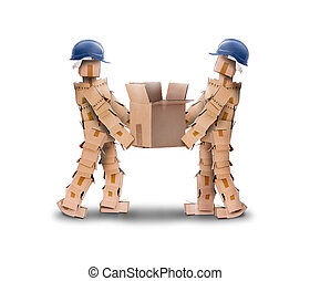 Two workmen lifting a box - Two workmen lifing a heavy box...