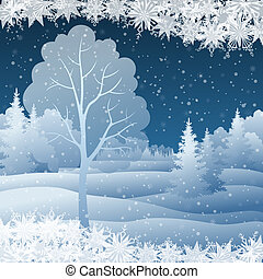 Winter Christmas landscape with tree - Winter Christmas...