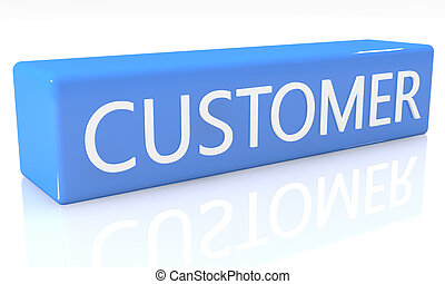 Customer - 3d render blue box with text Customer on it on...