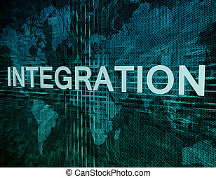 Integration text concept on green digital world map...