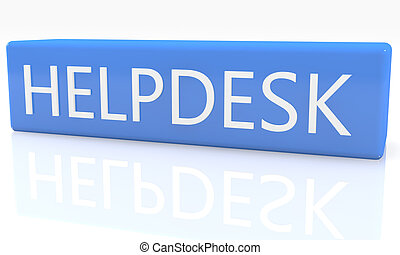 Helpdesk - 3d render blue box with text Helpdesk on it on...
