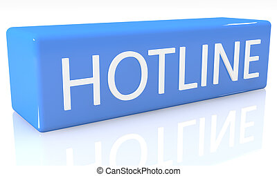Hotline - 3d render blue box with text Hotline on it on...