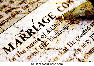 islamique, mariage, certificat