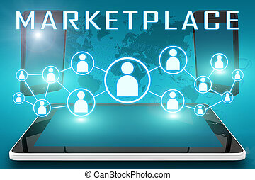 Marketplace - text illustration with social icons and tablet...