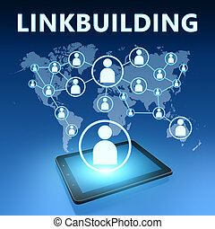Linkbuilding illustration with tablet computer on blue...