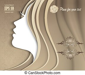 silhouette of a girl with luxurious hair - Fashion Portrait....