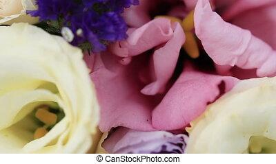 Wedding bouquets Macro - Lying on table wedding bouquet