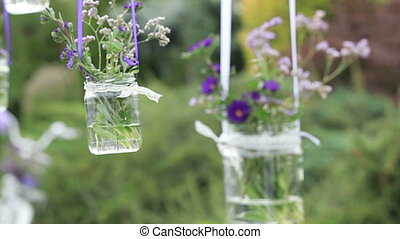 Flowers in glass vase - Hanging glass vases with flowers
