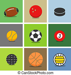 Sport ball silhouettes color collection