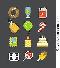 Different holiday icons set with rounded corners Design...