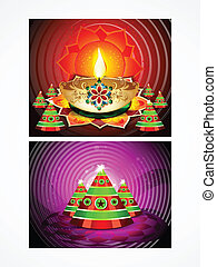 deepak diwali background set vector illustration