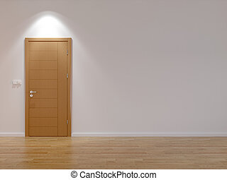 Empty room with modern door