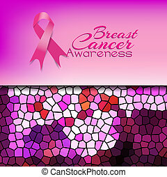 Breast cancer awareness with abstract mosaic background