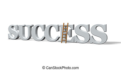 succes - the word success and a ladder on white background -...