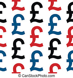 Pound symbol seamless pattern on white background Vector...