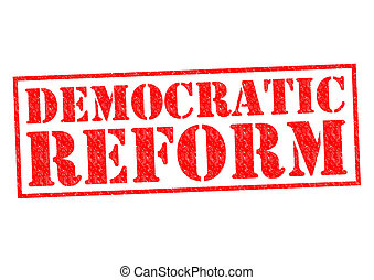 DEMOCRATIC REFORM red Rubber Stamp over a white background.