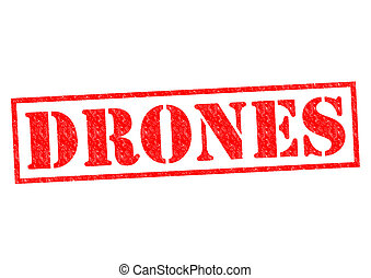 DRONES red Rubber Stamp over a white background.