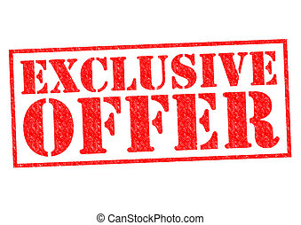EXCLUSIVE OFFER red Rubber Stamp over a white background