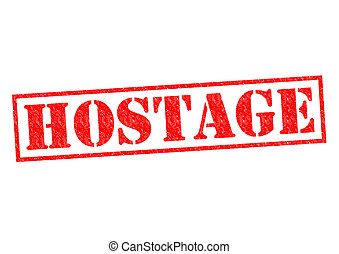 HOSTAGE red Rubber Stamp over a white background