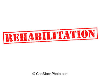 REHABILITATION red Rubber Stamp over a white background