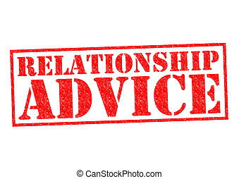 RELATIONSHIP ADVICE red Rubber Stamp over a white...