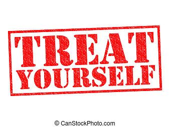TREAT YOURSELF red Rubber Stamp over a white background.