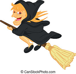 witch flying on broom - illustration of witch flying on...