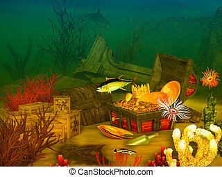 sunken treasure - beautiful  illustration of underwater life