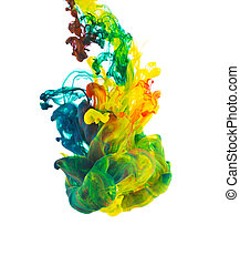 Colored ink isolated on white background - Studio shot of...