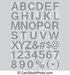 Pixel Font - Alphabets and numerals characters in retro...