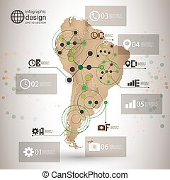 South America map vector, infographic design illustration...