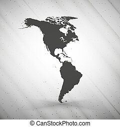 North and South America map on gray background, grunge texture vector illustration