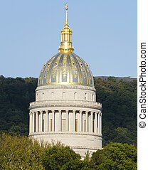 West Virginia Golden Ornate State Capital Dome - The golden...