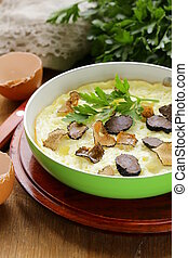 gourmet omelette with black truffle