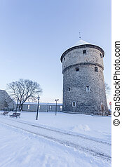 Winter view of tower Tallinn, Estonia - Winter view of...