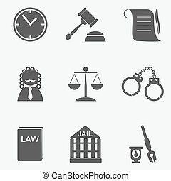 law judge icon set, justice sign