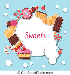Background with colorful sticker candy, sweets and cakes.